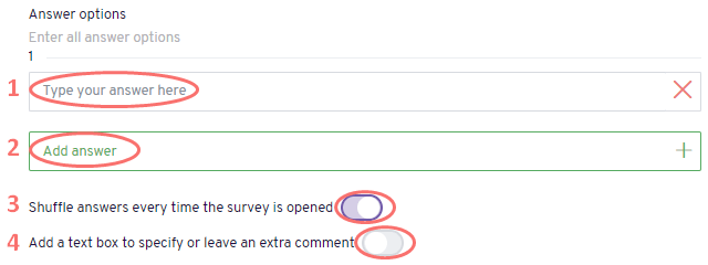Ranking - edit answer options
