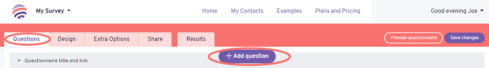 radio button rating add question button