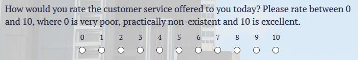 radio button rating answer options