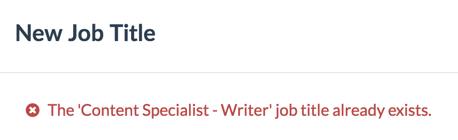 """Job Title already exists"" message."