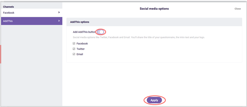 AddThis social media options