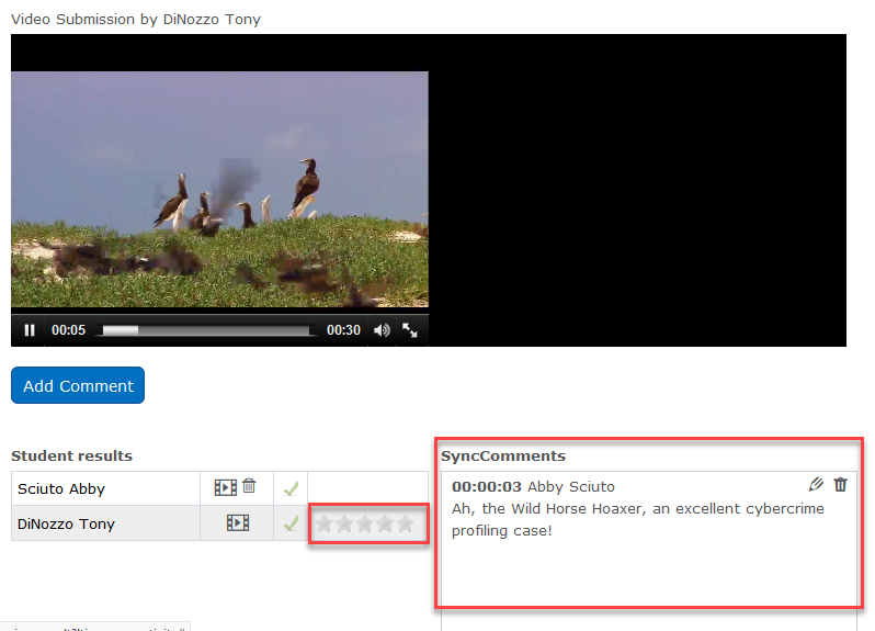 Comments will display in the SyncComments box and you can rate the video if your instructor enabled the ratings option