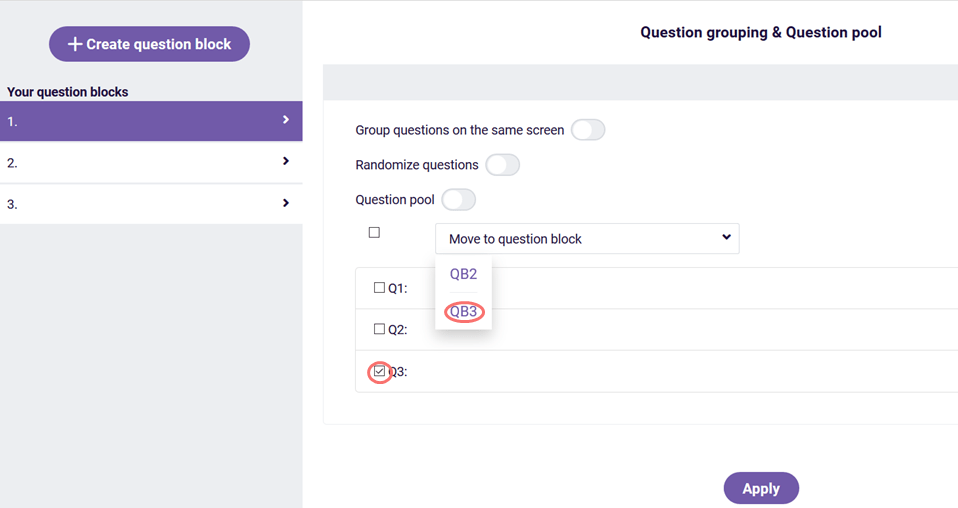 Question grouping - move questions to question block 3
