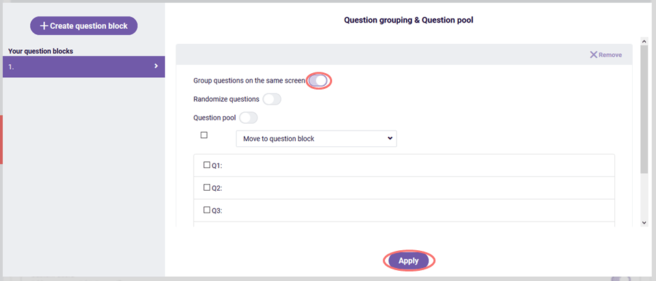 One-page survey - group questions on one screen
