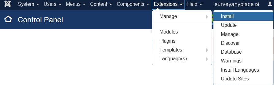 Joomla control panel