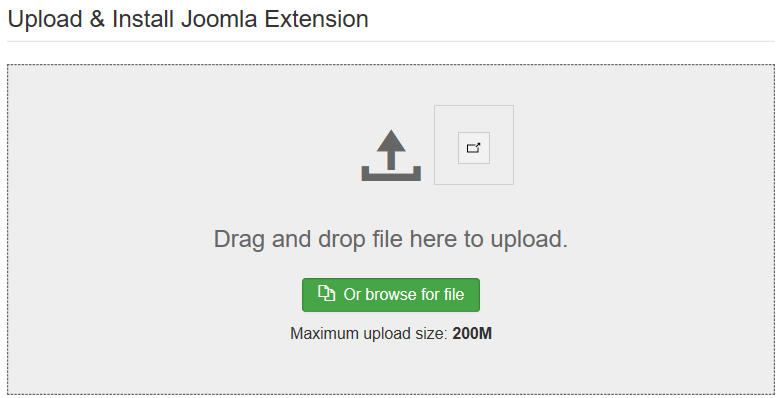 Uplad and install Joomla extension