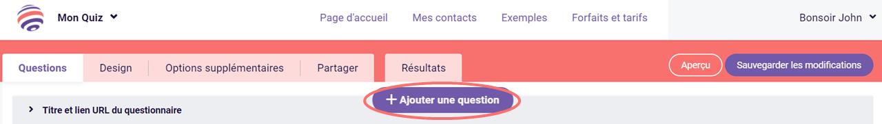 Ajouter une question a votre quiz