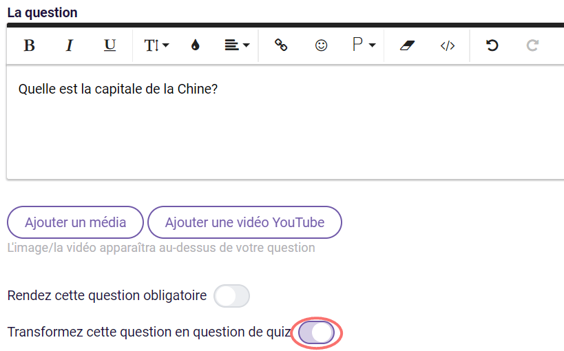 Transformez question en question de quiz