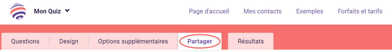 Partager le quiz - onglet Partager