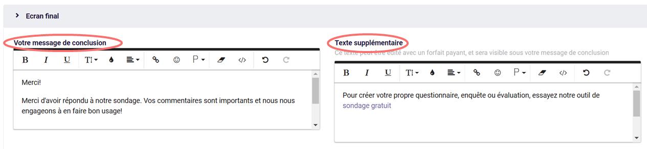 Modifier le text dans l'écran final