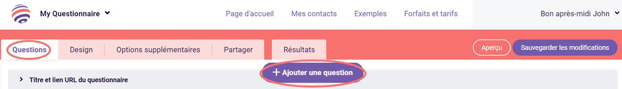 Choix de texte - ajouter une question