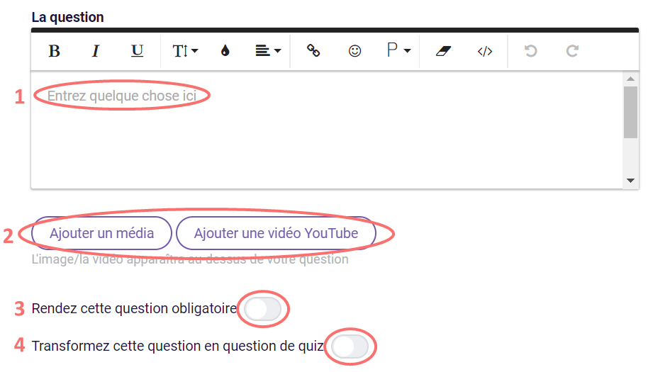 Choix du texte - editer la question