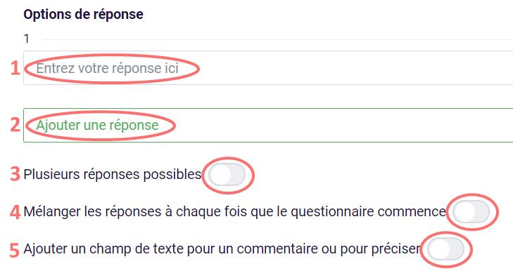 Choix de texte - options de réponse