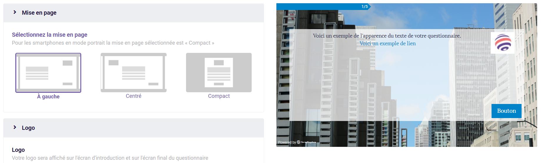 Modifier le design - mise en page