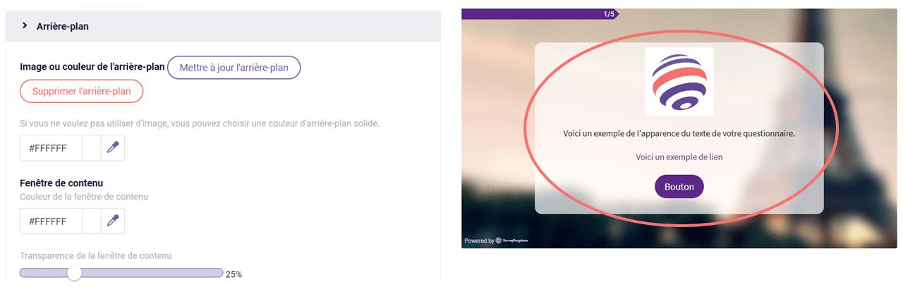 Modifier le design - fenetre de contenu