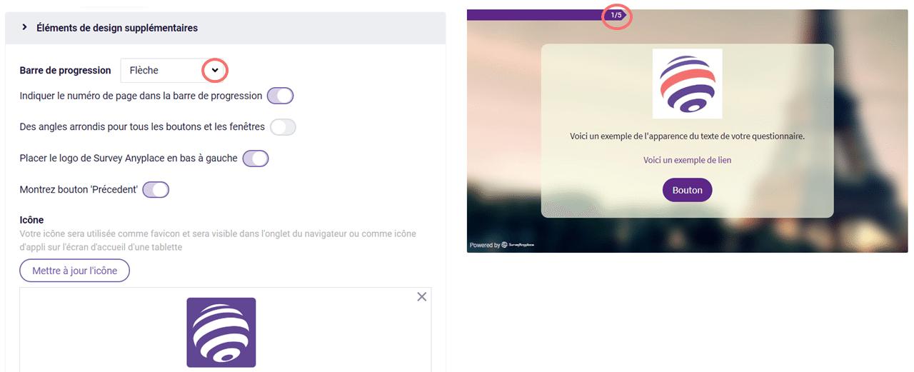 Modifier le design - barre de progression