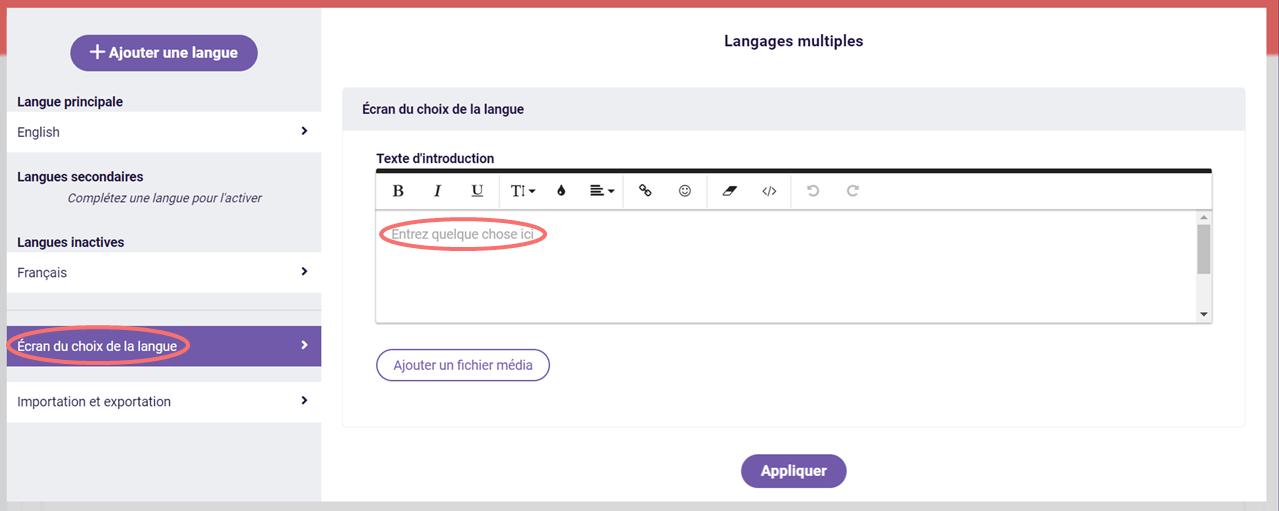 Langages multiples - écran du choix de la langue