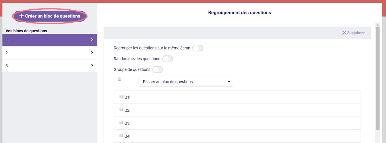 Regroupement de questions - créer un bloc de questions