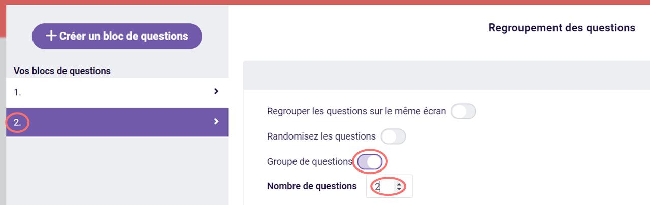 Activer le groupe de questions