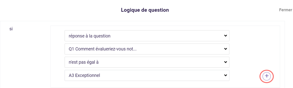 Logique de question - ajouter condition