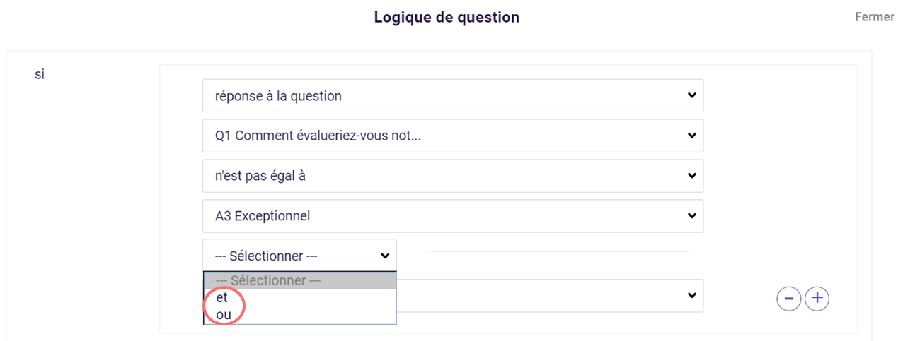 Logique de question - et ou