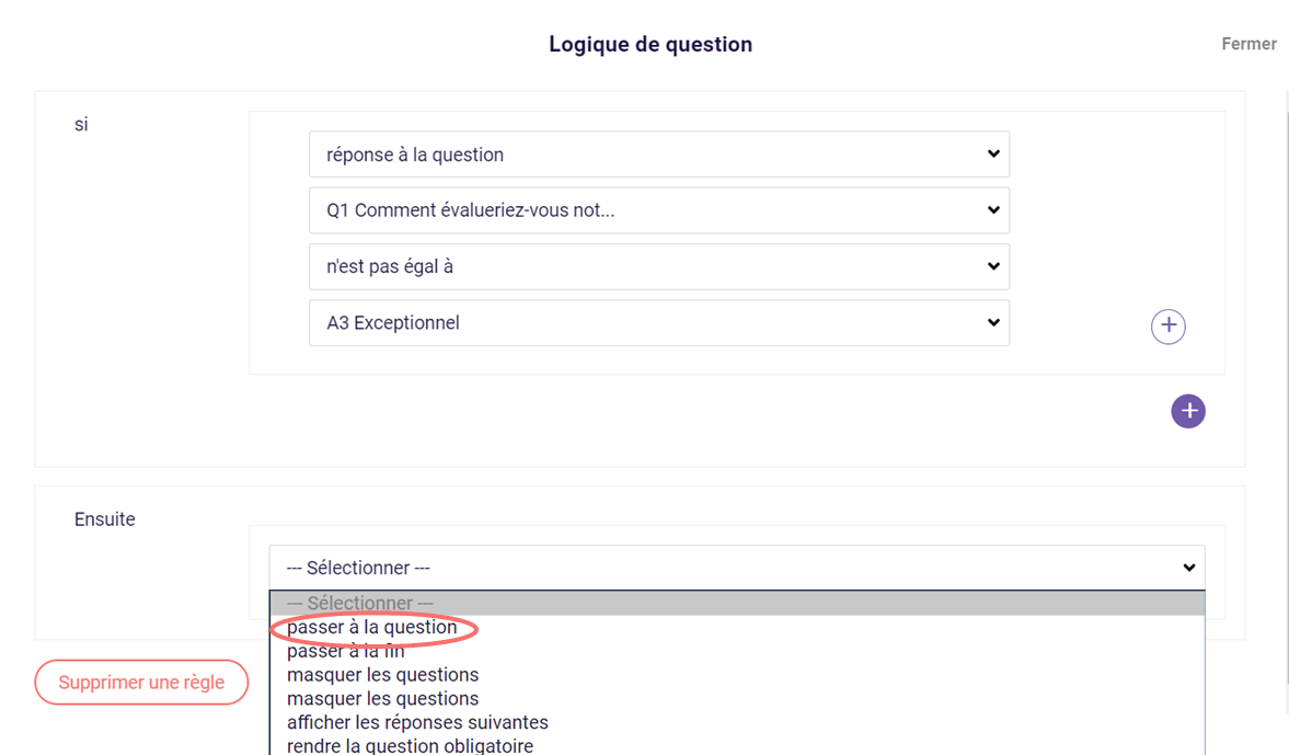 Logique de question - passer a la question