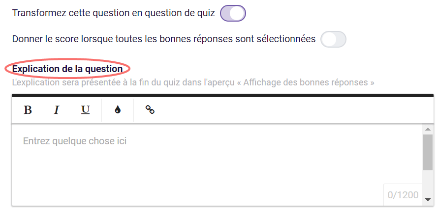 Quiz - explication de la question