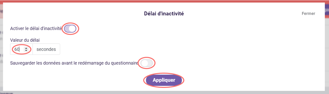 Délai d'inactivité - options du kiosque