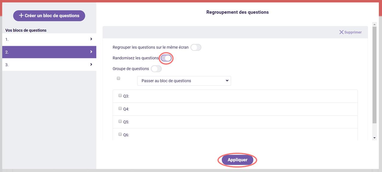 Activer randomisez les questions