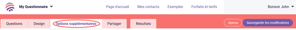 Notifications par e-mail - options supplémentaires