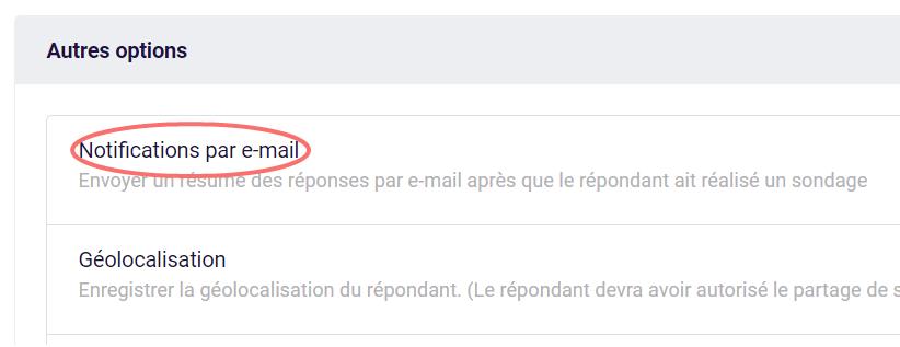 Choisissez notifications par e-mail