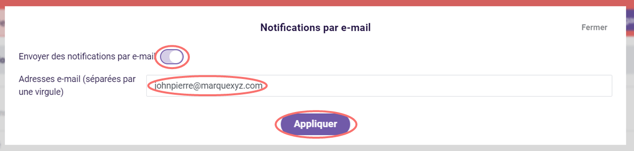 Configuer notifications par e-mail