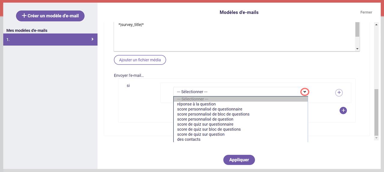 critères de règle pour envoyer l'e-mail