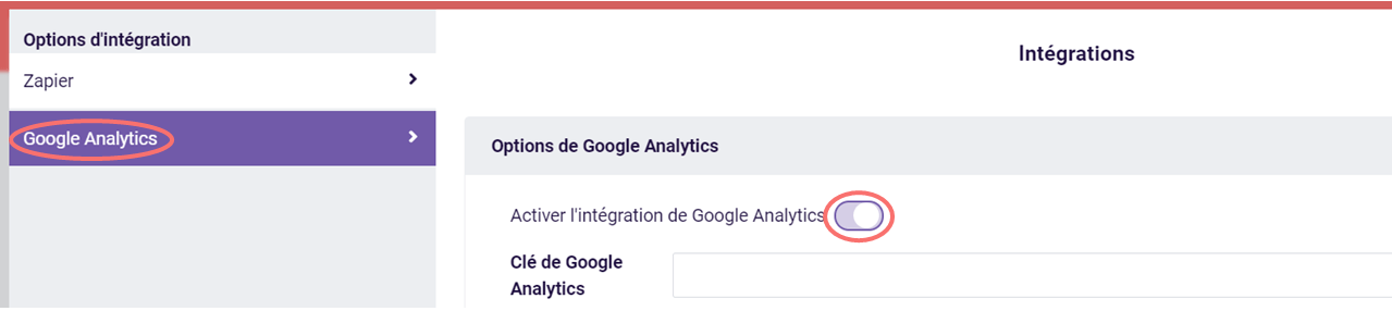 Activer l'intégration de Google Analytics