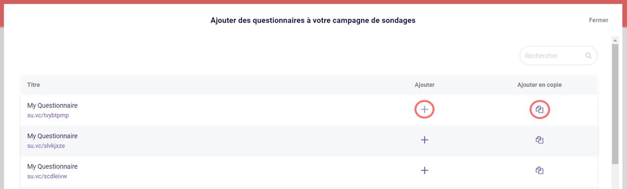 Ajouter questionnaires a campagne de sondages