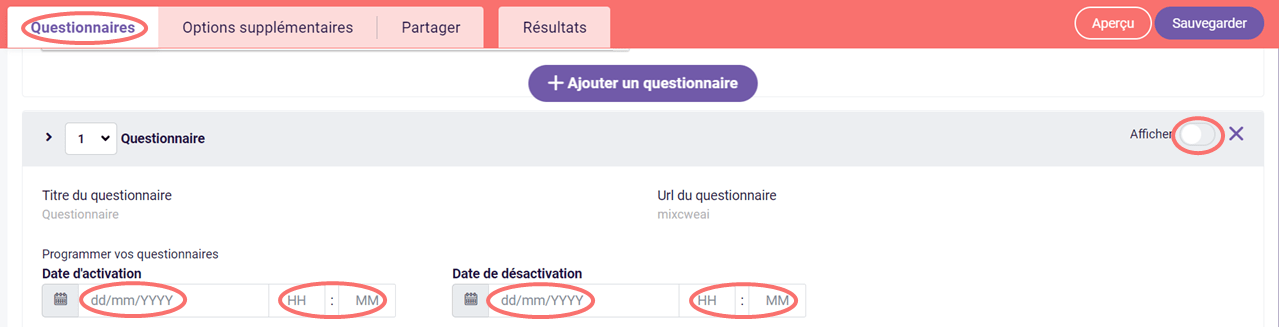 Planificateur de questionnaire - dates d'activation et désactivation