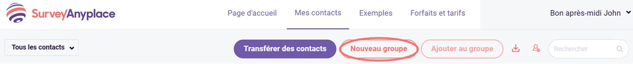 Nouveau groupe - contacts