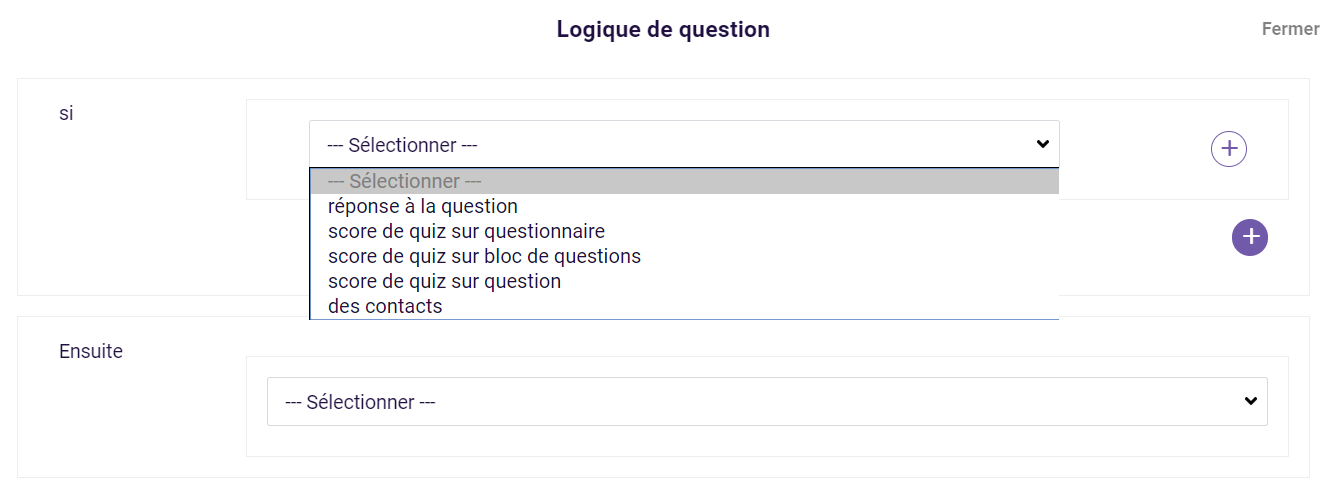 Logique de question - score du quiz