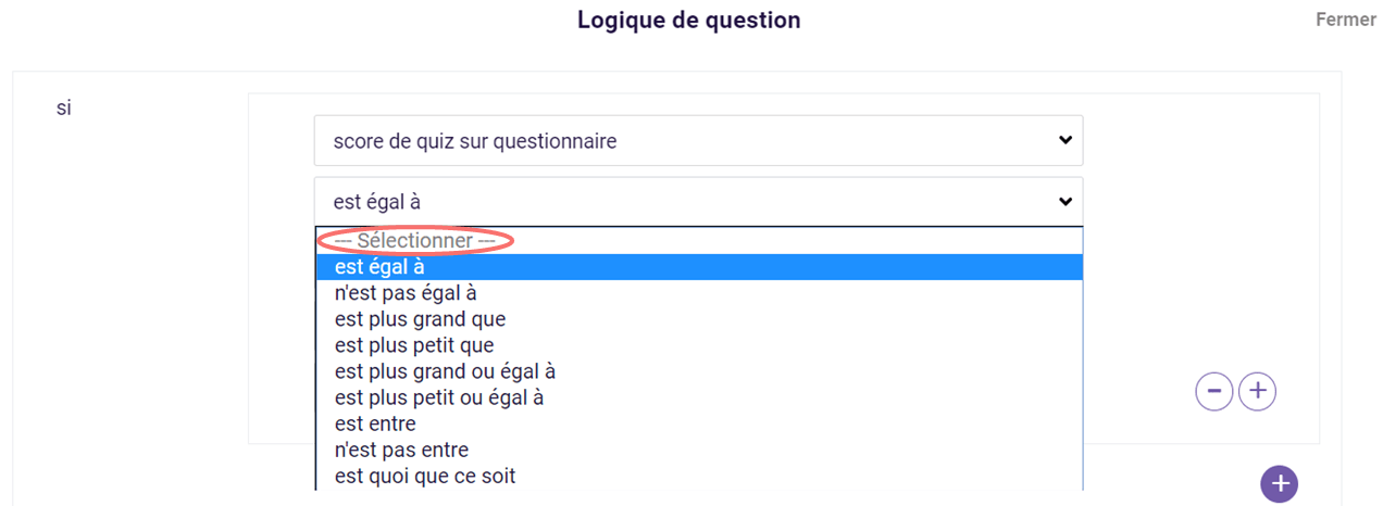 Logique de question - selon score de quiz