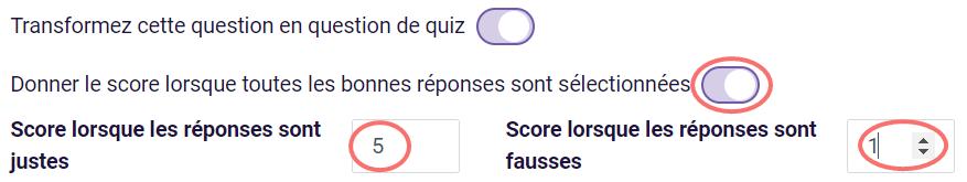 Choix de texte - score pour justes réponses