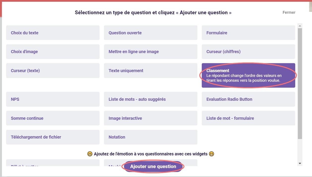 Classement - ajouter une question