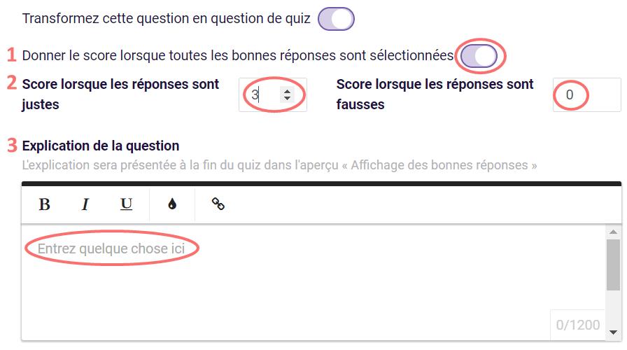 Classement - options quiz