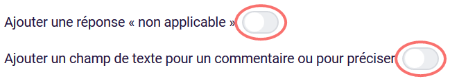 Autres options de réponse - radio button