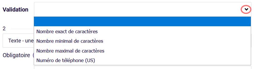 Types de validation - formulaire