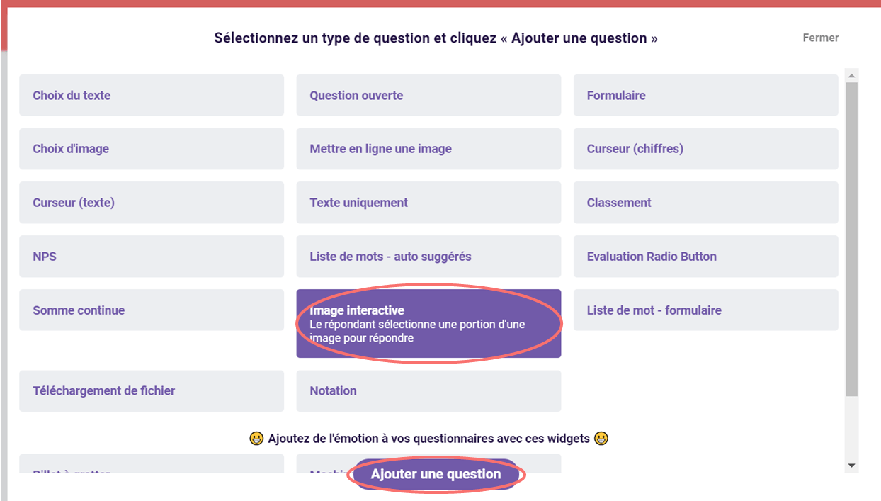 Image interactive - ajouter une question