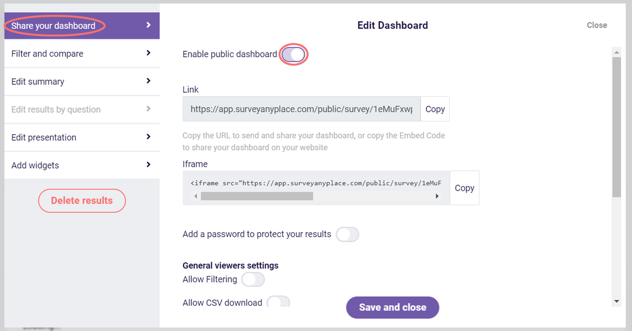 Edit dashboard - enable public dashboard
