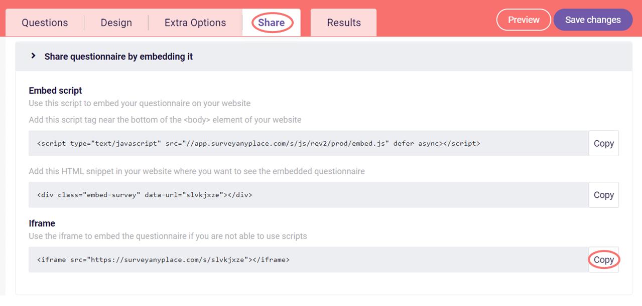 Embed survey - iframe