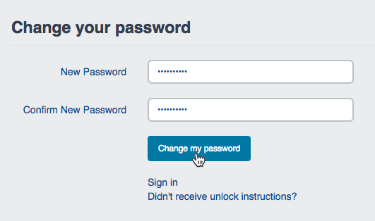 """Change your password"" dialog"