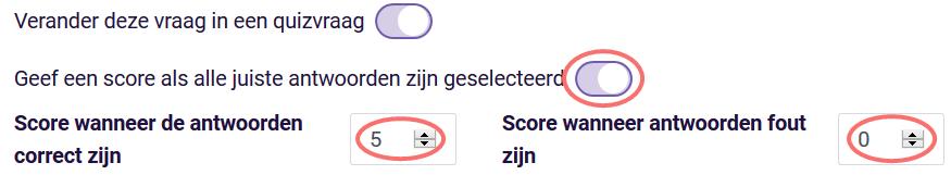 Score als alle juise antwoorden geselecteerd - meerkeuzevraag
