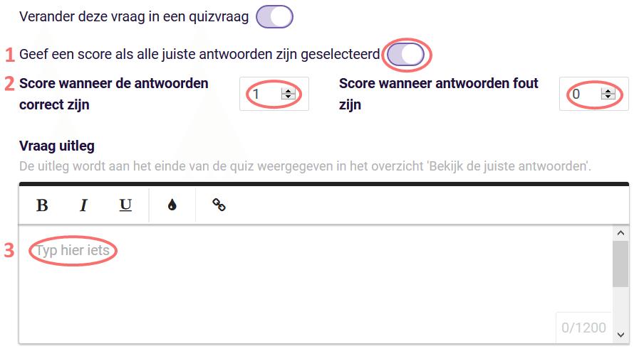 Quiz score, vraag uitleg- ranking